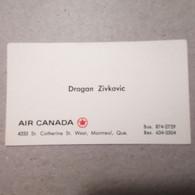 Old Cardboard Visit Card DRAGAN ZIVKOVIC Air Canada Airlines Aerotransport - Visiting Cards