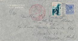 Nederland - 1937 - 80 Cent Fotomontage + 12,5 Cent Veth Met Deutsche Luftpost Van Amsterdam Naar Valparaiso / Chili - Brieven En Documenten