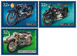 2019-2502-2504 3v Russia. History Of Russian Motorcycle TRANSPORT: Motorbikes: Motorcycles Mi 2748-2750 ** - Ongebruikt
