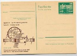 DDR P79-34-82 C204-a Postkarte PRIVATER ZUDRUCK Sputnik1 / Saljut 6  Dresden 1982 - Postales Privados - Nuevos