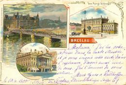 Breslau Lessing-brücke U. Regierungsgebäude - Polen