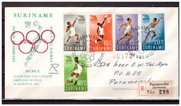 Surinam / Suriname 1960 FDC 16-2M Olympic Rome Soccer Basketball Swimming Running - Surinam ... - 1975