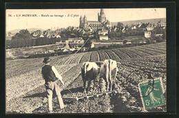 CPA Autun, Boeufs Au Hersage, Bauer Avec Ochsen-Gespann - Autun