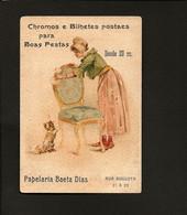 Cartão Publicidade Loja PAPELARIA Chromos E Postaes - Rua Augusta LISBOA. Old Victorian Trade Card VTC Portugal 1880s - Other
