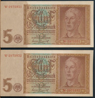 °°° GERMANY - 5 REICHSMARK SERIE W CONSECUTIVE 1942 °°° - 5 Reichsmark