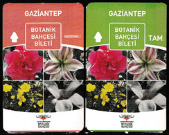 Turkey, Türkei - Gaziantep Botanical Flower Garden Entrance Ticket * 2 Different - Toegangskaarten