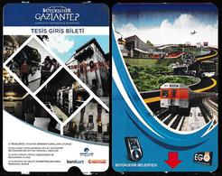 Turkey, Türkei - Gaziantep Metro, Bus Entrance Ticket * 2 Different - Toegangskaarten