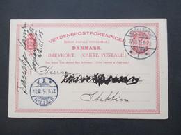 Dänemark 1905 Bedruckte Ganzsache Danske Landmandsbank Union Postale Universelle Kjobenhavn - Stettin - Enteros Postales