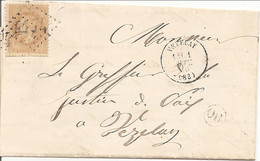 """YONNE (83)  LAC (écrite à ASNIERES SOUS BOIS """"OR"""" ) OBLI GC 4174 VEZELAY Sur NAP 28 Pour VEZELAY - 1849-1876: Classic Period"""