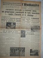 Journal L'humanité 28 Octobre 1944 Jacques Duclos Discours Palais De La Mutualité  Uzhorod Ruthénie Anvers Churchill - Otros