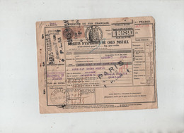 Bulletin Expédition Colis Postaux Omgba Yaoundé Interprète Travaux Publics Samaritaine Paris 1926 PLM - Non Classés