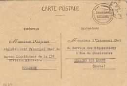 1942-;C P ETAT Français COURRIER OFFICIEL  De Toulouse Pour Châlons Sur Marne - Guerra De 1939-45