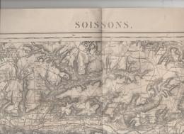 Soissons (02 Aisne)   Carte D'état-major N°33  Levée En 1834 Révisée 1912 (M1328) - Topographical Maps