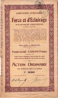 Action Ordinaire  Au Porteur - Compagnie Auxiliaire De Force Et Eclairage Par Le Gaz Et Electricité - Bruxelles - 1934. - Elektrizität & Gas