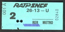 Métro - RATP-SNCF - RER - 2ème Classe - Titre D'agent - 26-13 - U - Type 001 A - Peu Commun - Europe