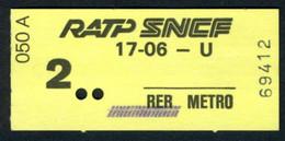 Métro - RATP-SNCF - RER - 2 ème Classe - Titre D'agent - 17-06 - U - Type 050 A - Peu Commun - Europe