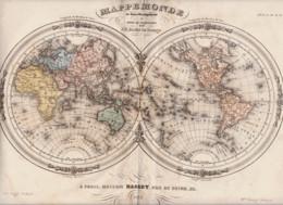MAPPEMONDE Gravure Des 2 Hémisphères .... En  1848  Chez Basset à Paris - Geographische Kaarten