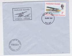 Falkland Islands Internal Air Mail Hydravion FDC Fox Bay 1969 - Falkland Islands