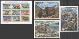 UU909 BHUTAN FAUNA WILD ANIMALS ENDANGERED SPECIES OF THE WORLD !!! 3BL+1KB MNH - Otros