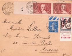 FRANCE : Lettre N° 279-330x 2 - 1921-1960: Periodo Moderno