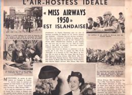 """Hôtesse De L'Air-L'Air Hostess Idéale-Miss Airways 1950 Est Islandaise-Miss Sabena-""""Le Soir Illustré"""" Du 20 Juillet 1950 - Luftfahrt & Flugwesen"""