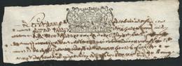 Cachet Généralité De Moulins Pour Notaires   1 Sol Et  4 Deniers Sur Fragment Daté  En  1686  Bb 16306 - Seals Of Generality