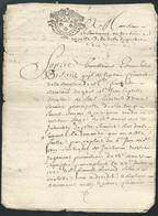 Cachet Généralité De Moulins  1 Sol 4  Deniers Sur  Requète En Succession  Daté  19 01 1736  Bb 16309 - Seals Of Generality
