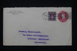 ETATS UNIS - Entier Postal Commercial + Complément De Erie Pour La Suisse En 1909 - L 81221 - 1901-20