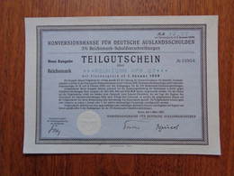 ALLEMAGNE - BERLIN 1937 - KONVERSIONSKASSE FÜR DEUTSCHE AUSLANDSSCHULDEN 3% - PETIT TITRE - Non Classés