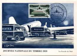 ACHAT IMMEDIAT : JOURNEE TIMBRE 1959 - PARIS - La Postale De Nuit - 1950-59