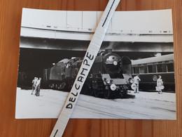 SNCF : Photo Originale M DAHLSTROM 12,5 X 17,5 : Locomotive 231 K 4 Et Voiture CIWL à BOULOGNE MARITIME (62) - Treinen