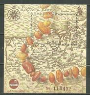 POLAND MNH ** Bloc 131 CARTE ANCIENNE. COLLIER D'AMBRE. EXPOSITION PHILATELIQUE à POZNAN - Blocks & Sheetlets & Panes