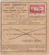 Journées Nationales De L'Aviation 1930, Carte Aéropostale Vincennes -> Maroc -> France - 1921-1960: Période Moderne