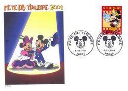 Enveloppe 1er Jour Fête Du Timbre 2004, Mickey, Oblitération Paris (YT 3641) - 2000-2009