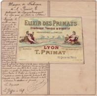 LYON / TRES BEAU DOCUMENT / DEPOT DE MARQUE DE FABRIQUE / ELIXIR DES PRIMATS / CHROMO LITHOGRAPHIE - Documentos Históricos