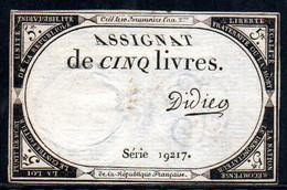 538-Assignat De 5 Livres De L'An 2 Didier - Assegnati