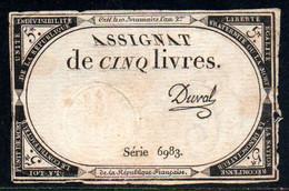 538-Assignat De 5 Livres De L'An 2 Duval (2) - Assegnati