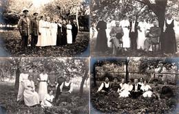 4 Cartes Photos Originales Guerre 1914/18 - Soldats En Permission Et Divers Poses En Famille Un 30 Juillet 1916 - Guerra, Militares