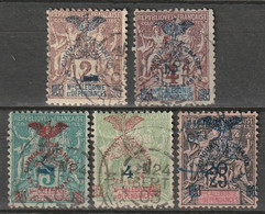 Nouvelle-Calédonie N° 81, 82, 83, 84, 87 - Used Stamps