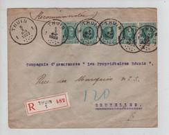 REF2558/ TP 194 (5) Dont Bde De 4 Houyoux S/L.Recommandée C.Thuin 5/10/1923 > BXL - Brieven En Documenten