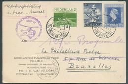 C.P. De 's Gravenhague 3-11-1947 Vers Bruxelles Avec Sc Violet PER SPECIALE VLUCHT HEFSCHROEFVLIEGTUIG 's GRAVENHAGUE BR - Airmail