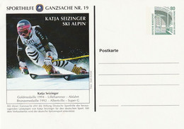 "Bundesrepublik Deutschland - Sporthilfe-Postkarte Nr. 19 ""Katja Seizinger, Ski Alpin"" ** (D526) - Private Postcards - Mint"