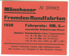 München 1938 RM 3,- Stadtrundfahrt- Fahrschein Boleto Biglietto Ticket Billet - Europe
