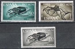Serie Completa RIO MUNI 1965,pro  Infancia, Insectos, Escarabajo, Num 63-65 * - Riu Muni