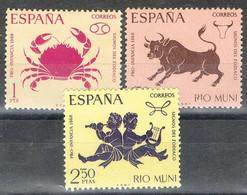 Serie Completa RIO MUNI 1968, Pro  Infancia, ZODIACO, Cancer, Tauro, Geminis, Num 83-85 * - Riu Muni