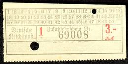 Deutschland Deutsche Reichspost ~1938 RM 3 Postauto Omnibus- Fahrschein Boleto Biglietto Ticket Billet - Europe