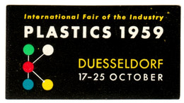 "Düsseldorf 1959 "" PLASTICS 1959 Kunststoffe "" Vignette Cinderella Reklamemarke - Cinderellas"