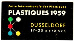 "Düsseldorf 1959 "" PLASTIQUES 1959 Kunststoffe "" Vignette Cinderella Reklamemarke - Cinderellas"