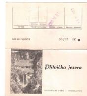 Plitvicka Jezera Nacionalni Park Ulaznica Ticket 1963 With Instructions - Jugoslawien