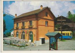 Saint-Gervais  74   Brasserie Du Tramway Du Mont Blanc Et Autorail En Gare - Saint-Gervais-les-Bains